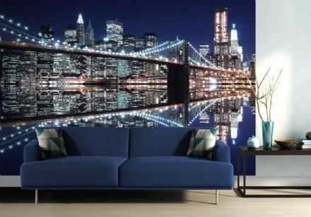 New York Brooklyn Bridge lights wall mural